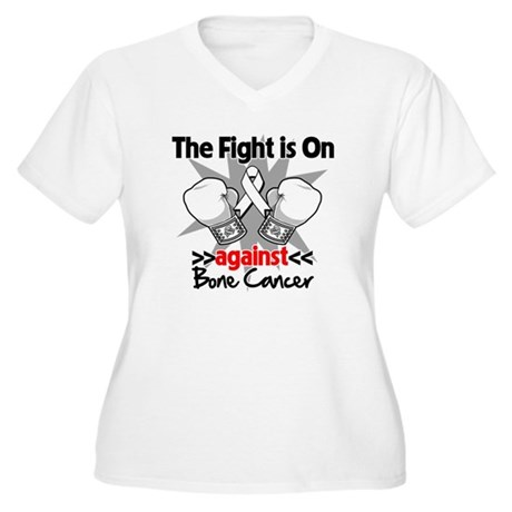 The Fight is On Bone Cancer Women's Plus Size V-Ne