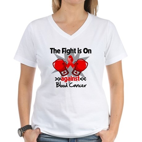 The Fight is On Blood Cancer Women's V-Neck T-Shir