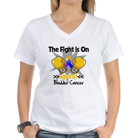 Fight is On Bladder Cancer Women's V-Neck T-Shirt