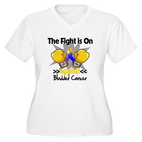 Fight is On Bladder Cancer Women's Plus Size V-Nec