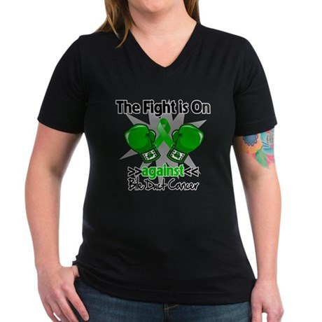 Fight is On Bile Duct Cancer Women's V-Neck Dark T