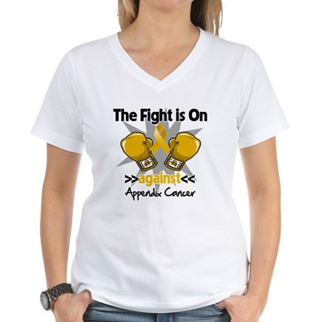 Fight is On Appendix Cancer Women's V-Neck T-Shirt