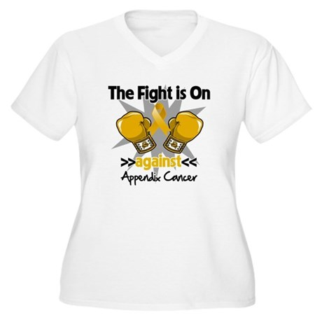 Fight is On Appendix Cancer Women's Plus Size V-Ne
