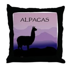 alpaca purple mountains Throw Pillow