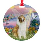 Cloudangel-Collie (Sw) Round Ornament