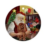 Santa & his Ruby Cavalier Ornament (Round)