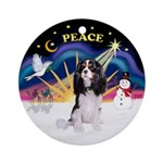 XmasSunrise-Tri color Cavalier Ornament (Round)