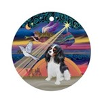 XmasAngel-Tri Color Cavalier Ornament (Round)