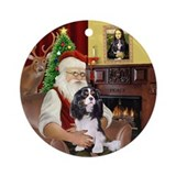 Santa &amp;amp; his Tri color Cavalier Ornament (Round