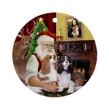 Santa & his Two Cavaliers Ornament (Round)