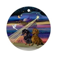 XmasAngel-Two Dachshund Ornament (Round)