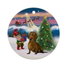 Take Off - Brown-Red Dachshund Ornament (Round)