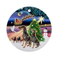 XmasMagic-Two Dobermans Ornament (Round)
