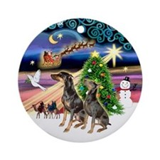 XmasMagic-Two Dobermans Ornament (Round)