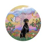 Guardian Angel - Doberman Ornament (Round)