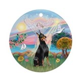 CloudAngel-Doberman Ornament (Round)