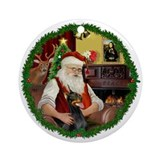 Santa (W) - Doberman Ornament (Round)