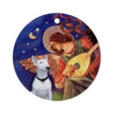 Mandolin Angel & Bull Terrier Ornament (Round)