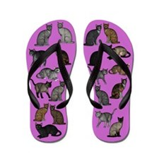 Cats On Purple Flip Flops