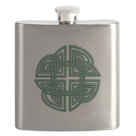 Celtic Four Leaf Clover Flask
