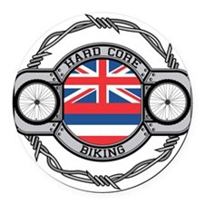 Hawaii Biking Round Car Magnet