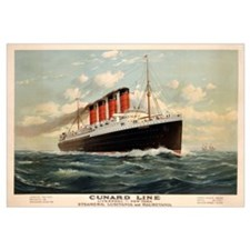 Advertisement for the Cunard Line, c.1908 (colour