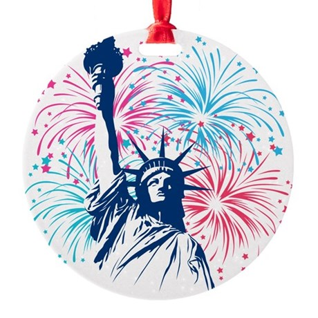 liberty_half.png Round Ornament