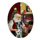 Santa & his Catahoula Leop. Ornament (Oval)