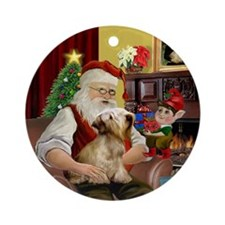 Santa & his Cesky Terrier (M) Ornament (Round)