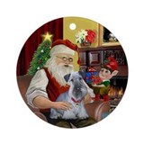 Santa & his Cesky Terrier Ornament (Round)