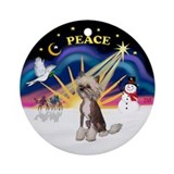 XmasSunrise-HL Chinese Crested2 - Ornament (Round)