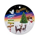 XmasSigns-3 HLChinese Crested Ornament (Round)