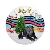 XmasMusic1-Black SharPei Pup Ornament (Round)