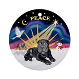 XmasSunrise-Black SharPei Pup Ornament (Round)
