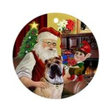Santa & his Chinese SharPei Ornament (Round)