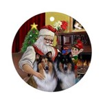 Santas two Collies Ornament (Round)