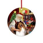 Santa's Sable and White Collie Ornament (Round)