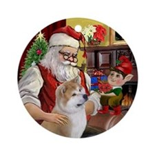 Santa and his Akita/Akita Inu Ornament (Round)