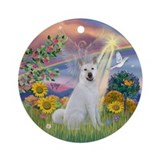 Cloud Angel - Akita Ornament (Round)