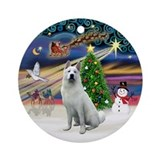 XmasMagic-White Akita Ornament (Round)