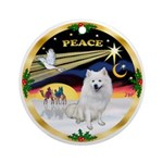 XmasDove-Amer Eskimo Dog Ornament (Round)