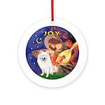 Angel3-Amer Eskimo Dog Ornament (Round)