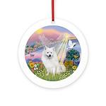 Cloud Angel-Amer Eskimo Dog Ornament (Round)