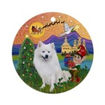 XmasFantasy-Amer Eskimo Dog Ornament (Round)