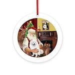 Santa's Amer Eskimo Dog Ornament (Round)