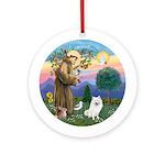 StFrancis-Amer Eskimo Dog Ornament (Round)