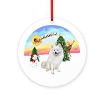 The Take Off-Amer Eskimo Dog Ornament (Round)