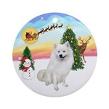 The Take Off-Amer Eskimo Dog Ornament (Round)
