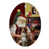 Santa & his Australian Shep (rw) Ornament (Ova