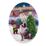 TakeOff2-Australian Shep Ornament (Oval)